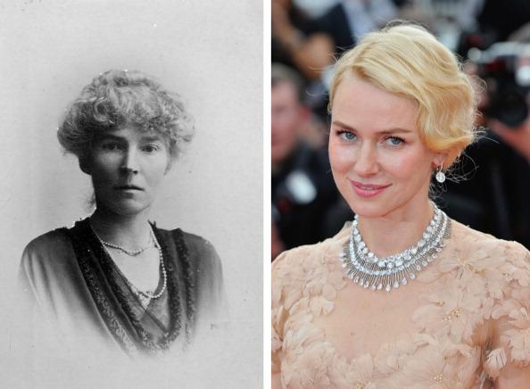 """(FILE PHOTO) In this composite image a comparison has been made between Gertrude Bell (L) and actress Naomi Watts. Naomi Watts will reportedly play Gertrude Bell in a film biopic """"Queen of the Desert"""" directed by Werner Herzog. ***LEFT IMAGE*** circa 1900: English archaeologist and traveller Gertrude Margaret Lowthian Bell (1868 - 1926). (Photo by Hulton Archive/Getty Images) ***RIGHT IMAGE*** CANNES, FRANCE - MAY 18: Actress Naomi Watts attends the """"Madagascar 3: Europe's Most Wanted"""" Premiere during the 65th Annual Cannes Film Festival at Palais des Festivals on May 18, 2012 in Cannes, France. (Photo by Gareth Cattermole/Getty Images for Paramount)"""