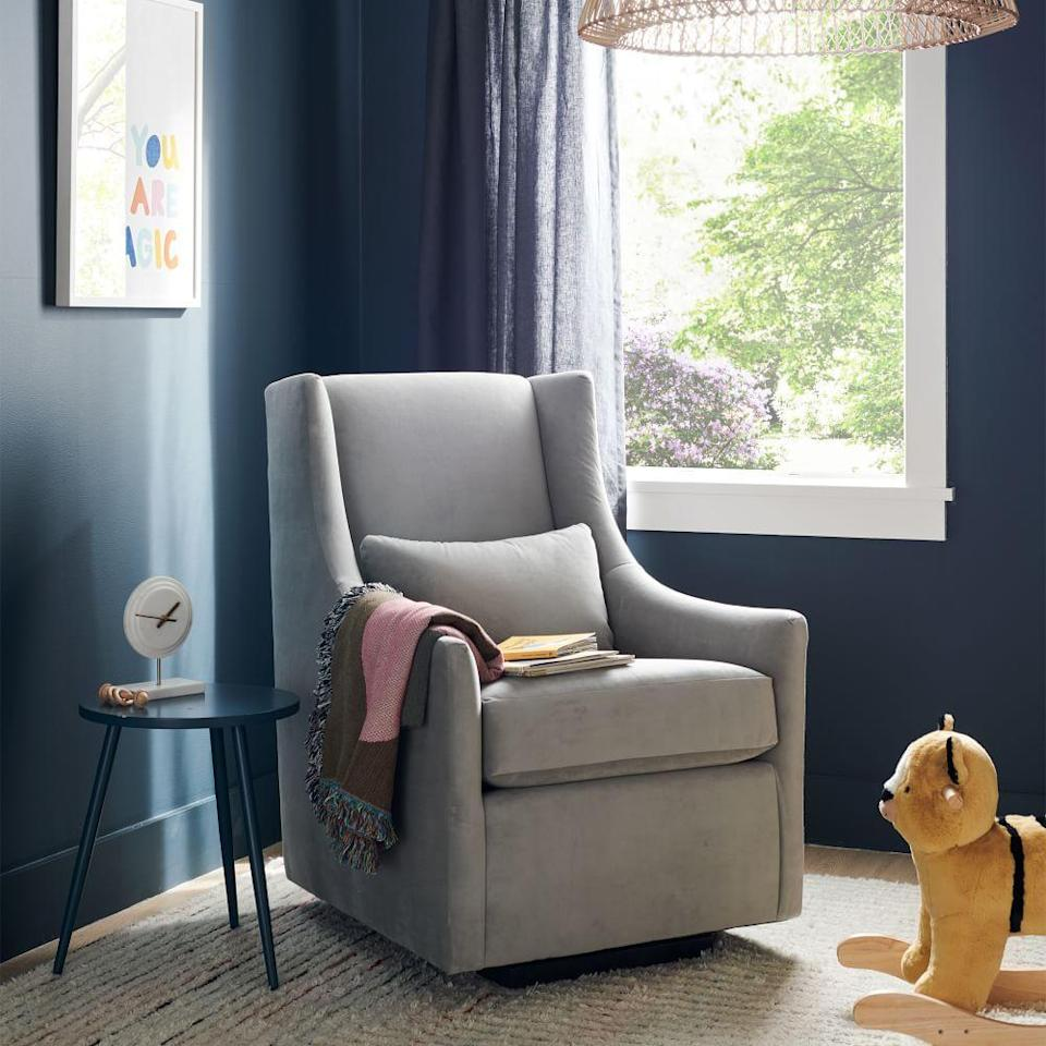 """<p><strong>West Elm </strong></p><p>westelm.com</p><p><strong>$899.00</strong></p><p><a href=""""https://go.redirectingat.com?id=74968X1596630&url=https%3A%2F%2Fwww.westelm.com%2Fproducts%2Fgraham-glider-g667&sref=https%3A%2F%2Fwww.goodhousekeeping.com%2Fchildrens-products%2Fg36815305%2Fbest-gliders%2F"""" rel=""""nofollow noopener"""" target=""""_blank"""" data-ylk=""""slk:Shop Now"""" class=""""link rapid-noclick-resp"""">Shop Now</a></p><p>When shopping for a glider, you'll notice most styles are only available in shades of grey, taupe and cream. But what we liked most about this sturdy, attractive chair is that you can choose from <strong>over 70 different colors</strong> from Desert Sunset to Pink Grapefruit, so you're sure to find a hue that matches your baby's room. Custom colored chairs do take more than 10 weeks to arrive, so be sure to plan ahead.</p>"""