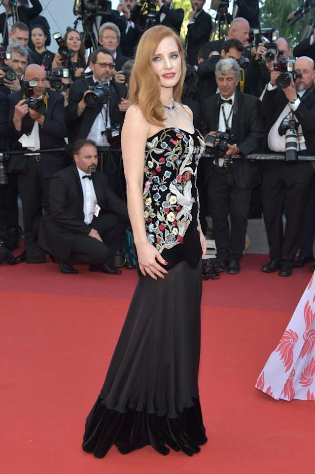 <p>For the opeing night of the Cannes Film Festival, Jessica Chastain wore a satin-stitch medieval embroidery bustier dress from Alexander McQueen's Fall/Winter 2016 collection. (Photo: Getty Images) </p>