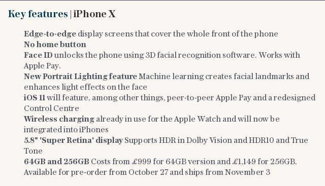 Key features   iPhone X