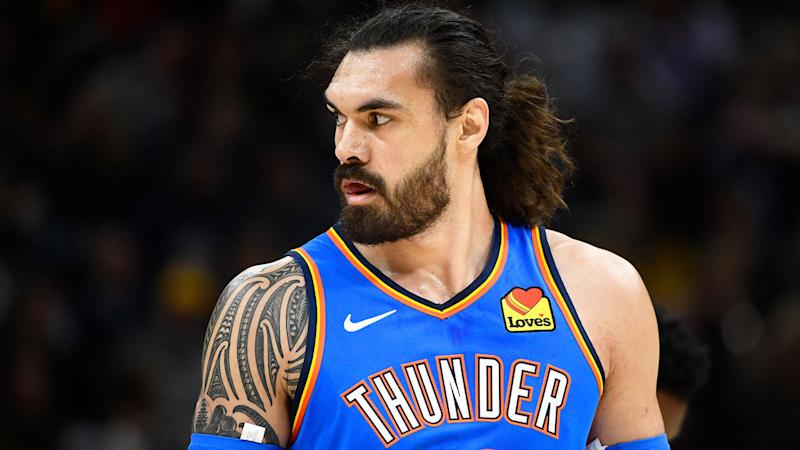 Pictured here, Oklahoma's Steven Adams during an NBA game.