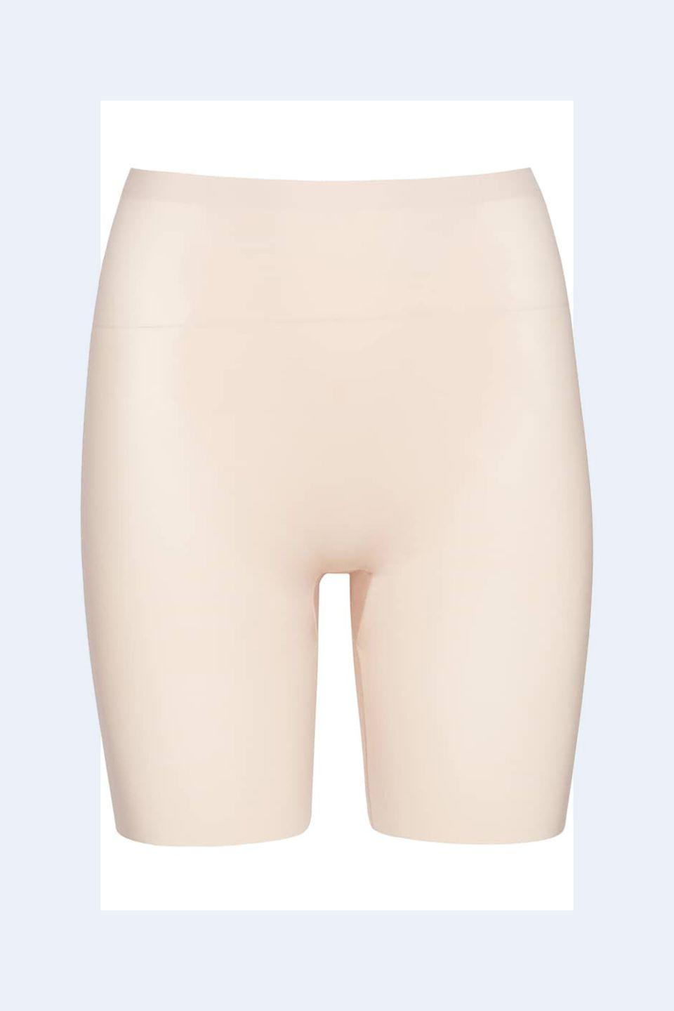 """<p><a rel=""""nofollow noopener"""" href=""""https://shop.nordstrom.com/s/spanx-thinstincts-mid-thigh-shorts/4287438?origin=keywordsearch-personalizedsort&breadcrumb=Home%2FAll%20Results&color=soft%20nude"""" target=""""_blank"""" data-ylk=""""slk:SHOP NOW"""" class=""""link rapid-noclick-resp"""">SHOP NOW</a> <em>Spanx Shorts, $58</em></p><p>""""Wearing the proper shapewear underneath everything helps to give you <strong>smooth lines</strong>."""" <em>-<a rel=""""nofollow noopener"""" href=""""https://www.juliaperrystyle.com/"""" target=""""_blank"""" data-ylk=""""slk:Julia Perry"""" class=""""link rapid-noclick-resp"""">Julia Perry</a></em></p>"""