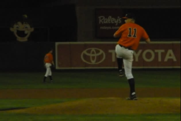 Roseville pitcher Mark Reece delivers a pitch during his no-hitter — Facebook