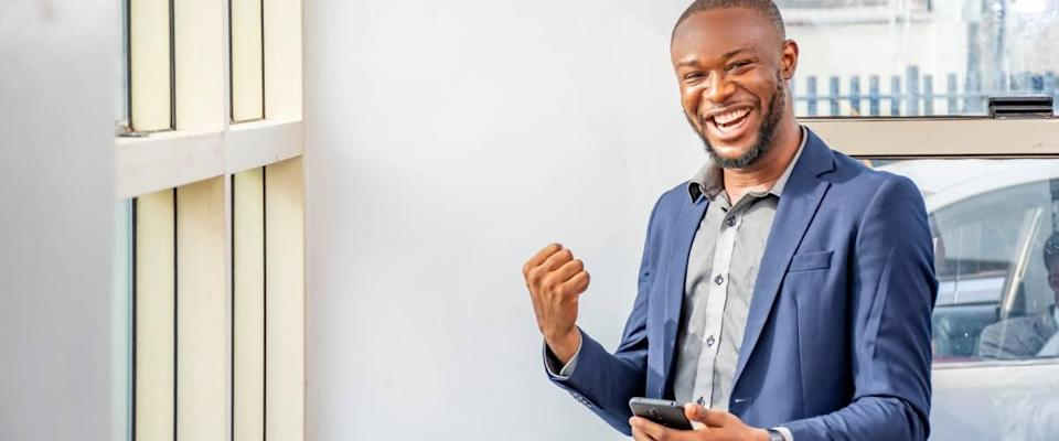 Man excited after checking stocks