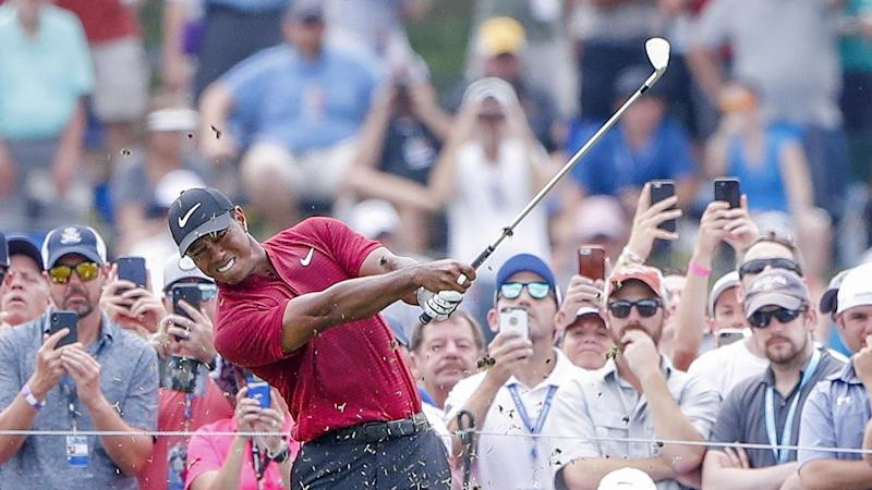 Tiger Woods is drawing huge crowds in the final round of the US PGA Championships in Missouri
