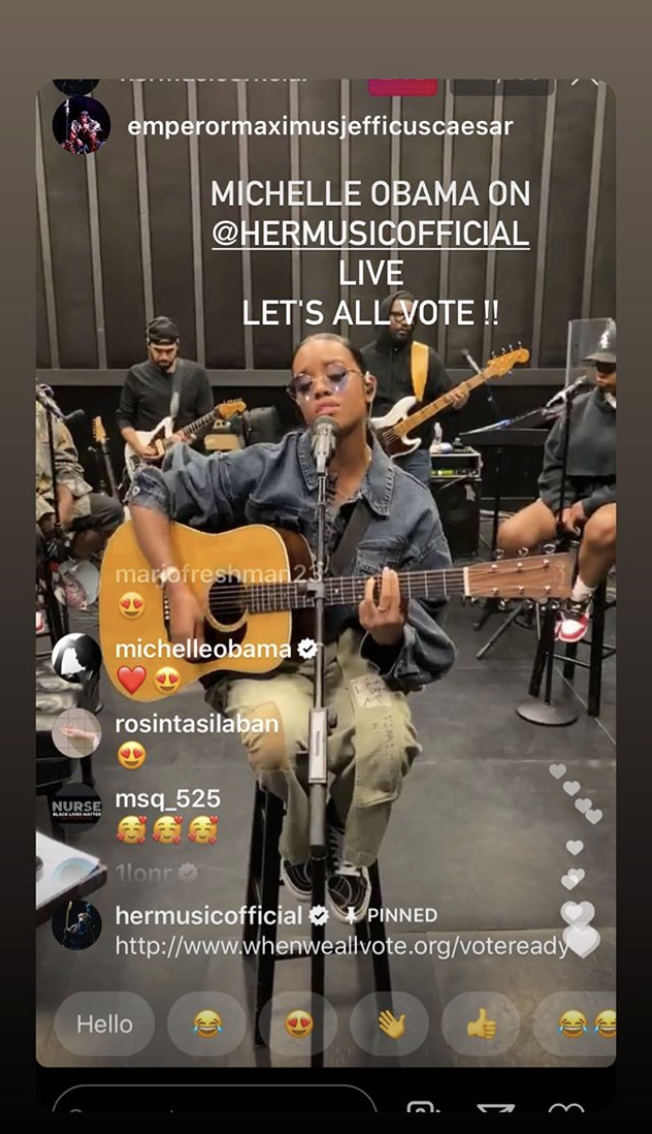 H.E.R. performed for When We All Vote. (Photo: Instagram)