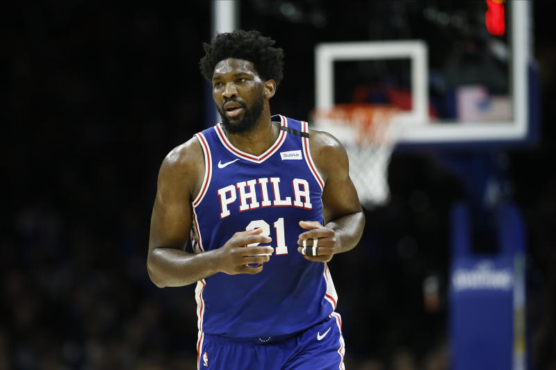 Philadelphia 76ers' Joel Embiid plays during an NBA basketball game against the Oklahoma City Thunder, Monday, Jan. 6, 2020, in Philadelphia. (AP Photo/Matt Slocum)