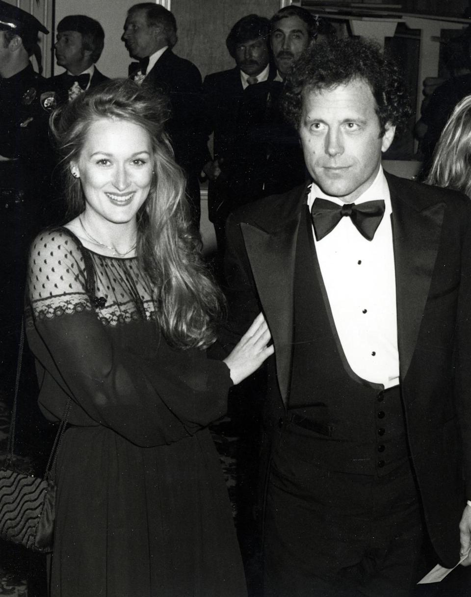 """<p>Meryl Streep at the 1979 Oscars</p><p>Baby's first Oscars! Here she is with husband Don Gummer in a black dress with <a rel=""""nofollow"""" href=""""https://www.yahoo.com/style/sheer-magic-j-lo-kristen-c1421255013883.html"""" data-ylk=""""slk:see-through paneling;outcm:mb_qualified_link;_E:mb_qualified_link;ct:story;"""" class=""""link rapid-noclick-resp yahoo-link"""">see-through paneling</a> in 1979. She was nominated for her role as Linda in <a rel=""""nofollow noopener"""" href=""""http://www.imdb.com/title/tt0077416/?ref_=nmawd_awd_19"""" target=""""_blank"""" data-ylk=""""slk:The Deer Hunter."""" class=""""link rapid-noclick-resp""""><i>The Deer Hunter.</i></a></p>"""
