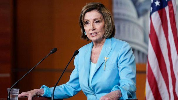 PHOTO: Speaker of the House Nancy Pelosi speaks during her weekly media availability on Capitol Hill on June 17, 2021, in Washington. (Joshua Roberts/Getty Images, FILE)