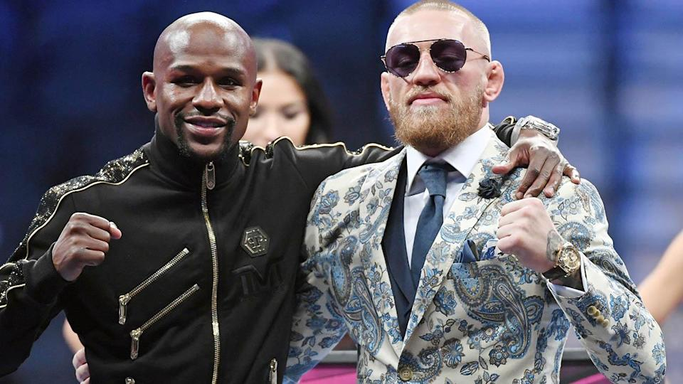Floyd Mayweather and Conor McGregor. (Photo by Ethan Miller/Getty Images)