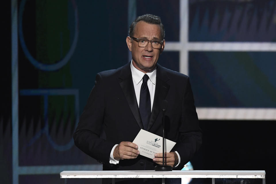 LOS ANGELES, CALIFORNIA - JANUARY 19: Tom Hanks speaks onstage during the 26th Annual Screen ActorsGuild Awards at The Shrine Auditorium on January 19, 2020 in Los Angeles, California. 721359 (Photo by Kevork Djansezian/Getty Images for Turner)