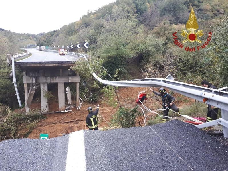 A portion of a motorway bridge linking Savona to Turin is seen after it collapsed due to a landslide near Savona