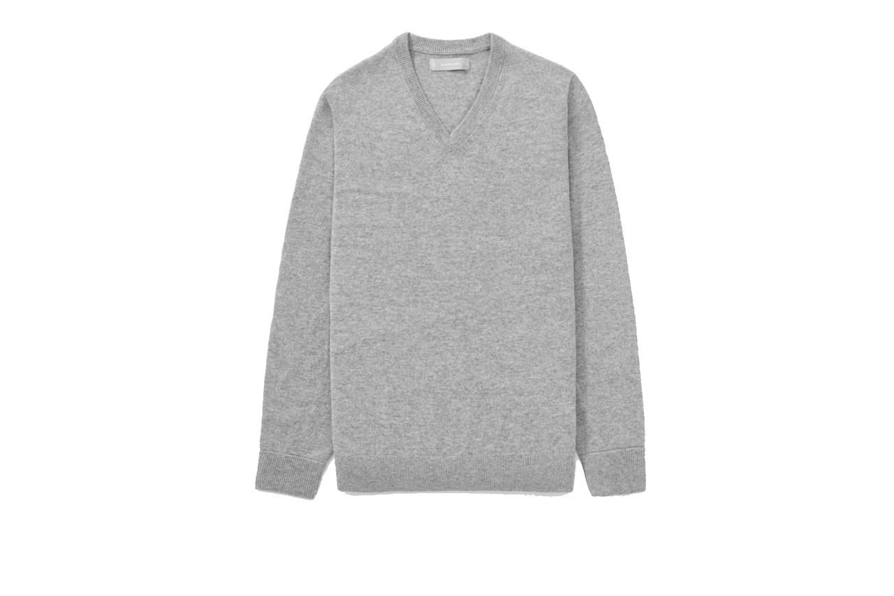 """$130, Everlane. <a href=""""https://www.everlane.com/products/mens-cashmere-v-neck3-heathergrey?collection=mens-100-dollar-cashmere"""">Get it now!</a>"""