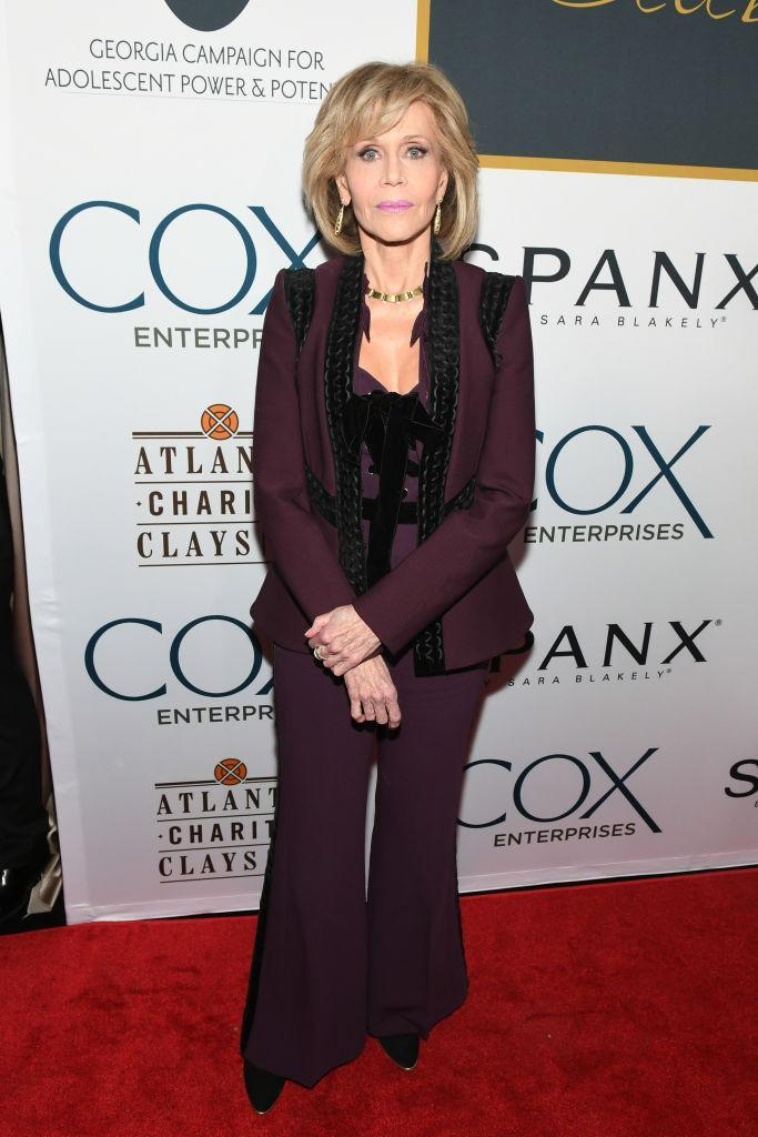 <p><strong>Dec. 9, 2017</strong><br>It featured a corset bodice that highlighted the two-time Oscar-winner's slim proportions (although she modestly covered up with a matching merlot-toned jacket). <em>(Photo: Getty)</em> </p>