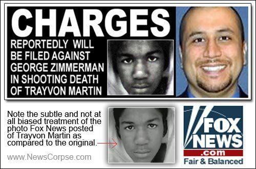 """<a href=""""http://www.huffingtonpost.co.uk/2012/03/31/trayvon-martin-george-zimmerman-us-embassy_n_1393461.html"""" target=""""_blank"""">During coverage of the shooting of Trayvon Martin,</a> Fox were accused of <a href=""""http://www.newscorpse.com/ncWP/?p=6851"""" target=""""_blank"""">darkening a photo of the black teenager</a> to make him look more menacing compared to a picture of the shooter, George Zimmerman, who wore a beaming smile in a colour photo."""