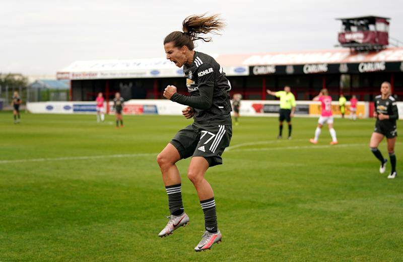 Tobin Heath celebrates her first goal for Manchester United on Sunday. (Photo by John Walton/PA Images via Getty Images)