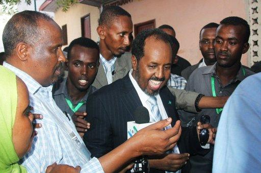 Somalia's newly elected President Hassan Sheikh Mohamud is pictured after winning a majority of votes