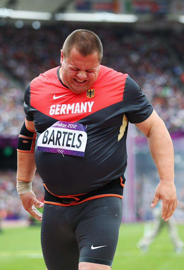 LONDON, ENGLAND - AUGUST 03: Ralf Bartels of Germany competes in the Men's Shot Put qualification on Day 7 of the London 2012 Olympic Games at Olympic Stadium on August 3, 2012 in London, England. (Photo by Michael Steele/Getty Images)