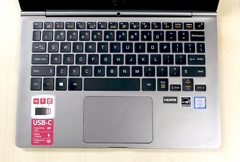 All of the new gram notebooks will have backlit keyboards. The trackpad is large and pleasant to use.
