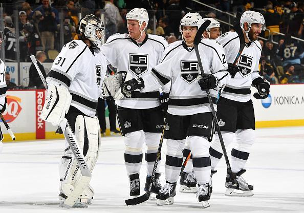 PITTSBURGH, PA - DECEMBER 16: Peter Budaj #31 of the Los Angeles Kings celebrates with teammates after defeating the Pittsburgh Penguins 1-0 at PPG Paints Arena on December 16, 2016 in Pittsburgh, Pennsylvania. (Photo by Joe Sargent/NHLI via Getty Images)