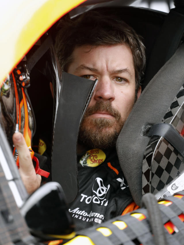 Martin Truex Jr. prepares to go out on the track during qualifying for the Daytona 500 auto race at Daytona International Speedway, Sunday, Feb. 10, 2019, in Daytona Beach, Fla. (AP Photo/Terry Renna)
