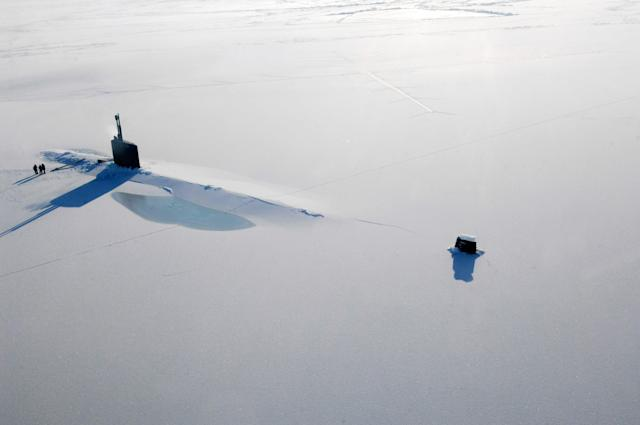 The Los Angeles-class submarine USS Annapolis after breaking through 3 feet of ice during an exercise in the Arctic Ocean. (Tiffini M. Jones/U.S. Navy via Getty Images)
