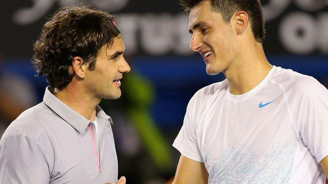 Federer and Tomic. Image: Getty