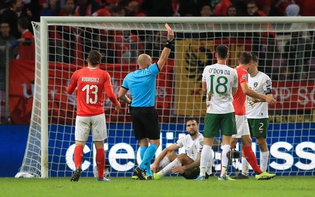 Seamus Coleman, right, was given his marching orders after picking up a second booking (Simon Cooper/PA)