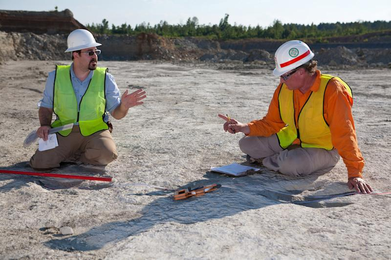 This July 12, 2011, photo provided by the University of Arkansas shows Geosciences professor Steve Boss, right, and colleagues Brian Platt discussing measurements of dinosaur tracks from a three-toed dinosaur being studied studied in Southwest Arkansas. The tracks, likely are from Acrocanthosaurus atokensis, one of the largest predators ever known, were found on private land in southwest Arkansas and provide a window into the life forms that roamed the area as long as 120 million years ago during the Early Cretaceous period. (AP Photo/University of Arkansas, Russell Cothren)