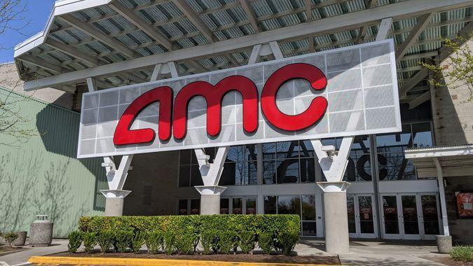 Woodinville, WA / USA - circa April 2020: Low angle view of the exterior of an AMC movie theater on a sunny day.