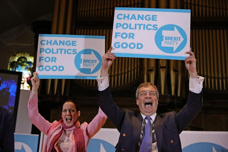 Nigel Farage and Annunziata Rees-Mogg at a Brexit Party rally (PA)