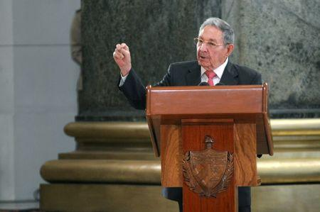 Cuba's President Castro addresses the audience during a ceremony at the Capitol in Havana