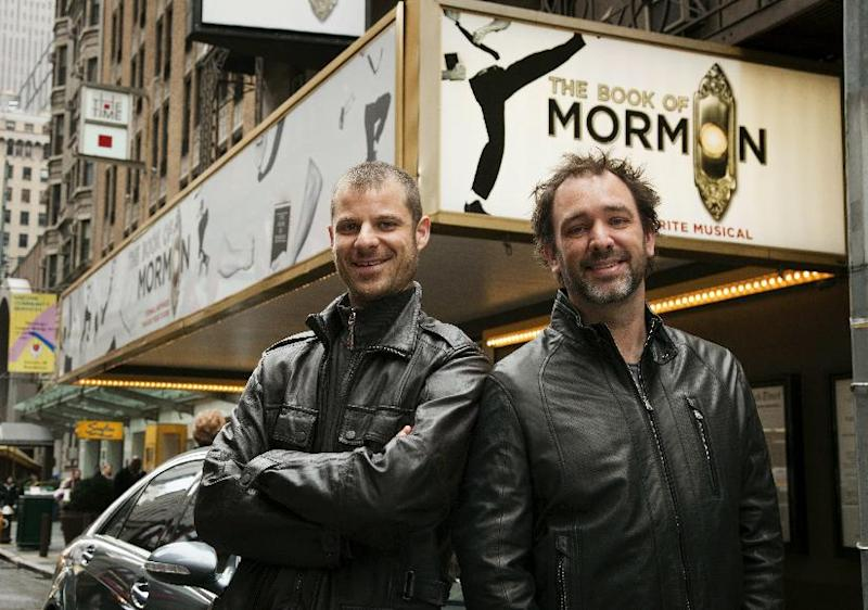 "FILE - In this March 16, 2011 file photo, Trey Parker, right, and Matt Stone, co-creators of the Broadway show ""The Book of Mormon,"" pose for a portrait outside the Eugene O'Neill Theatre in New York. ""The Book of Mormon"" was the No. 1 show in 2011. (AP Photo/Victoria Will, File)"