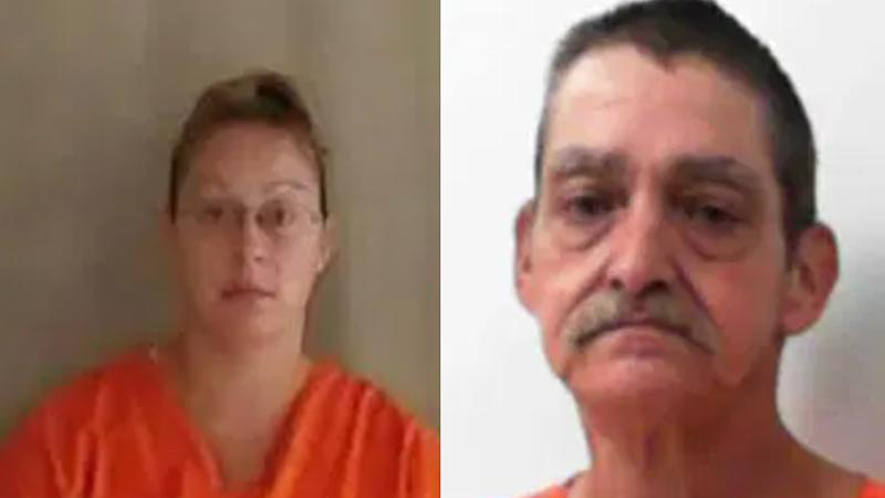 Amanda McClure and her father are seen in their mugshots.