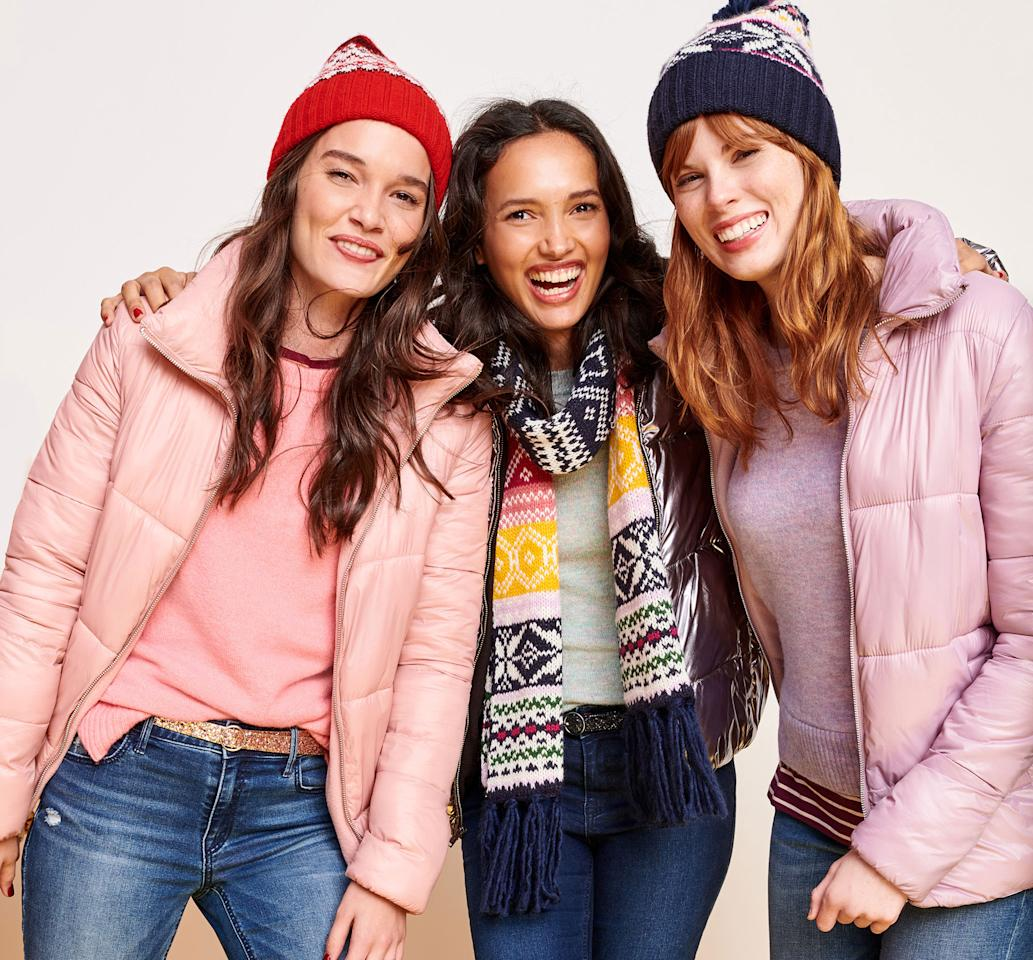 <p>Shop for all of your winter gear: coats, scarves, sweaters and more for the entire family, and save 50 percent off your entire purchase. This deal is valid Nov. 23 and again on Nov. 26 through Nov. 27. (Photo: Old Navy) </p>