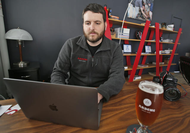 Photographer Ryan Kelly at his office at Ardent Craft Ales in Richmond, Va., April 17, 2018. Kelly left journalism shortly after shooting his Pulitzer-winning photo to work at the brewery. (Photo: Steve Helber/AP)
