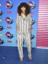 <p>For the 2017 Teen Choice Awards, Zendaya proved pyjama-dressing is back for a second season as she donned a striped number by Ashish. <em>[Photo: Getty]</em> </p>