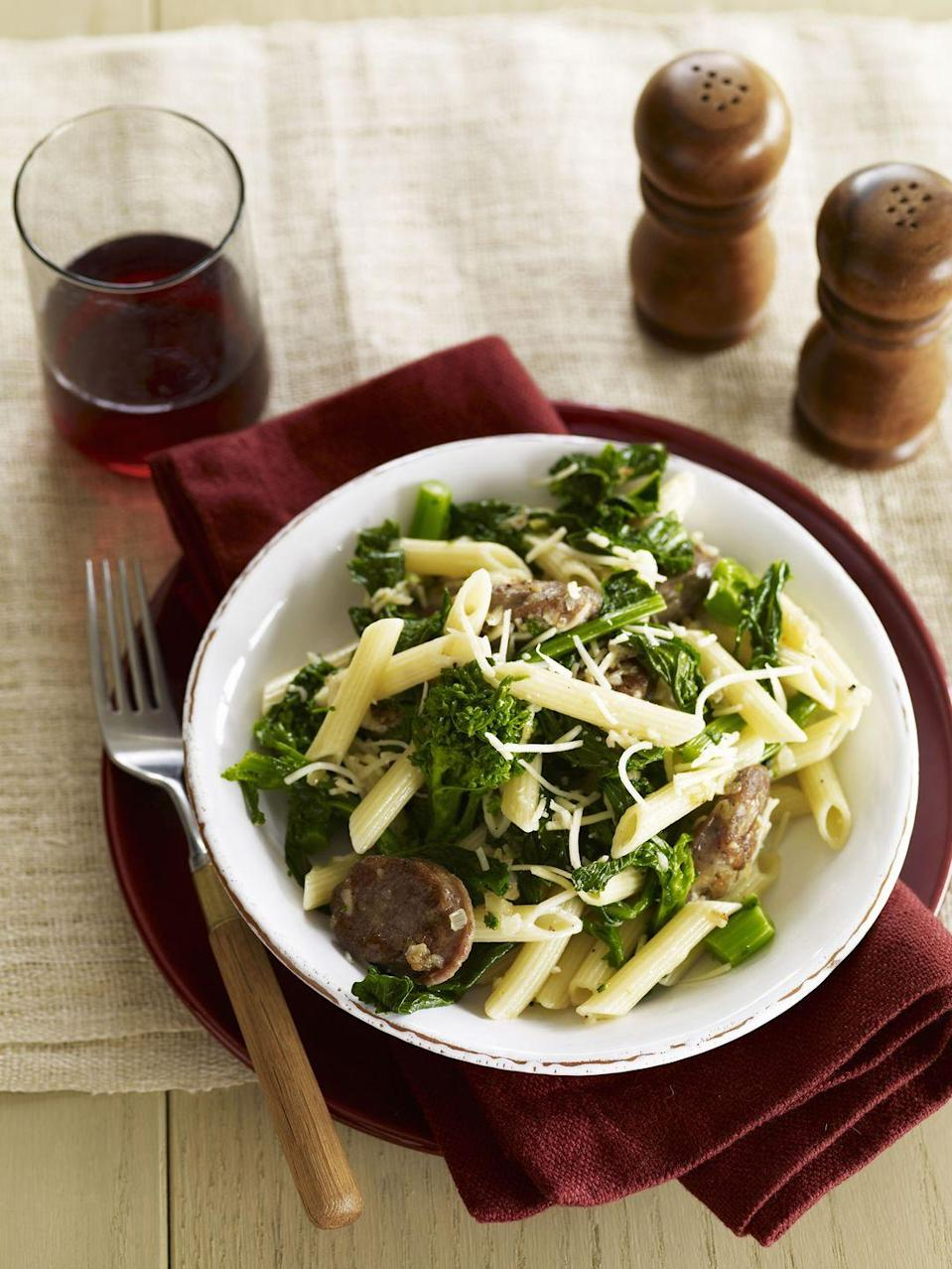 """<p>Enjoy this simple one-dish pasta meal with delicious Italian chicken sausage and broccoli rabe!</p><p><strong><a href=""""https://www.countryliving.com/food-drinks/recipes/a3358/pasta-sausage-broccoli-rabe-recipe/"""" rel=""""nofollow noopener"""" target=""""_blank"""" data-ylk=""""slk:Get the recipe."""" class=""""link rapid-noclick-resp"""">Get the recipe.</a></strong></p>"""