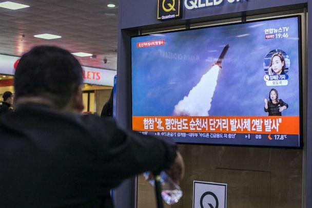 PHOTO: People watch a television broadcast reporting the North Korean missile launch at the Seoul Railway Station on Oct. 31, 2019, in Seoul, South Korea. (Woohae Cho/Getty Images, FILE)