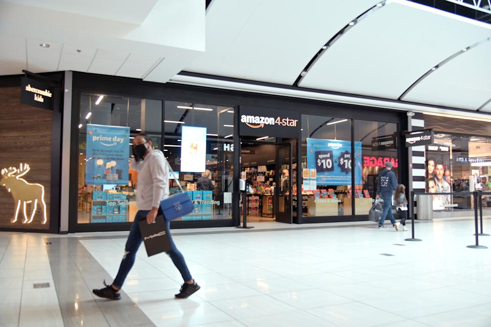 WAYNE, NEW JERSEY - OCTOBER 13: Brick-and-mortar Amazon store opens in the Willowbrook mall on Amazon prime day on October 13, 2020 in Wayne, New Jersey. In 2015, Amazon created Prime day as to attract new members and it continues the tradition this year, despite backlash over Covid concerns, endangerment to, and the mistreatment of workers. (Photo by Michael Loccisano/Getty Images)