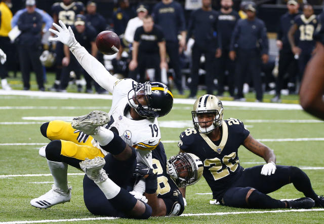 JuJu Smith-Schuster's fumble on the Steelers' last drive sealed Pittsburgh's defeat in New Orleans on Sunday. (AP)