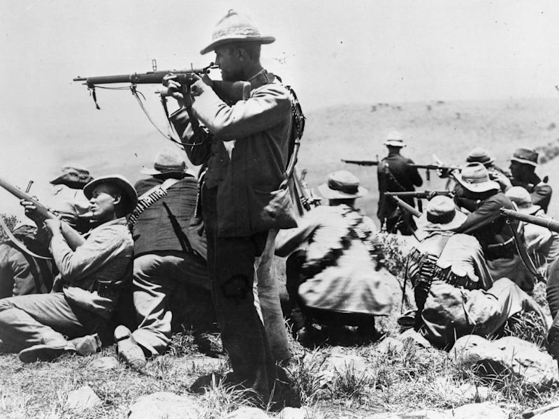 Armed Afrikaners on the veldt near Ladysmith during the second Boer War, circa 1900