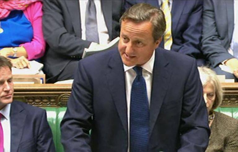 In an image grab taken from Parliament TV on September 1, 2014, Prime Minister David Cameron speaks to The House of Commons in London (AFP Photo/)