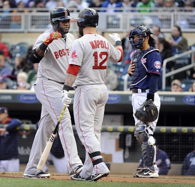 Boston Red Sox David Ortiz (34), left, celebrates with Mike Napoli (12), center, after hitting a solo home run against Minnesota Twins pitcher Ricky Nolasco as catcher Kurt Suzuki (8), right, looks on during the first inning of a baseball game in Minneapolis, Tuesday, May, 13, 2014.(AP Photo/Craig Lassig)