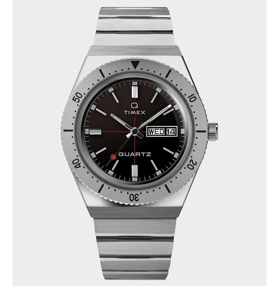 """<p><strong>Timex + Todd Snyder</strong></p><p>toddsnyder.com</p><p><strong>$179.00</strong></p><p><a href=""""https://go.redirectingat.com?id=74968X1596630&url=https%3A%2F%2Fwww.toddsnyder.com%2Fproducts%2Ftodd-snyder-x-timex-q-black-1%3Fcjevent%3D31b27f45ac1011ea802b00c90a24060f&sref=https%3A%2F%2Fwww.esquire.com%2Flifestyle%2Fg32840601%2Fbest-stepdad-gifts%2F"""" rel=""""nofollow noopener"""" target=""""_blank"""" data-ylk=""""slk:Buy"""" class=""""link rapid-noclick-resp"""">Buy</a></p><p>Back in the '70s, Timex introduced then-revolutionary quartz timekeeping technology to all watch-wearing people with the Q Timex. This year, Timex and Todd Snyder teamed up to revamp and reissue the Q in this undeniably cool design. Classic vibes, modern touch.</p>"""