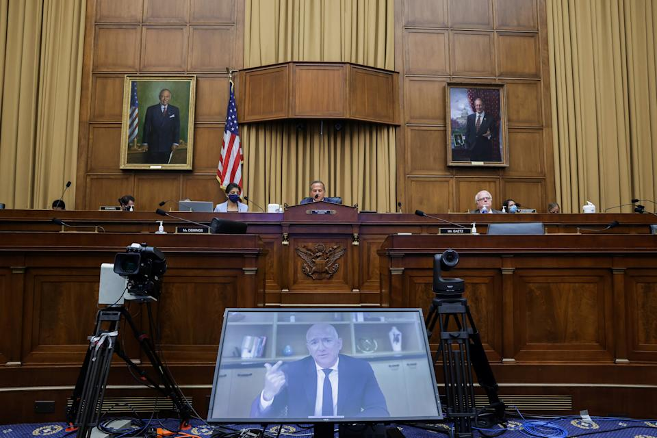 """Amazon CEO Jeff Bezos testifies via video conference during a hearing of the House Judiciary Subcommittee on Antitrust, Commercial and Administrative Law on """"Online Platforms and Market Power"""", in the Rayburn House office Building on Capitol Hill, in Washington, U.S., July 29, 2020. Graeme Jennings/Pool via REUTERS"""