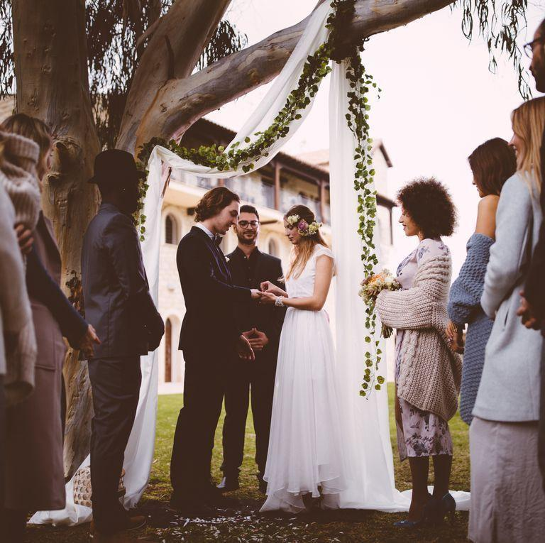 """<p>Apart from the occasional (and very quiet) """"aww,"""" talking during the ceremony is simply not okay. It should go without saying, but save your personal comments for after the wedding.</p>"""