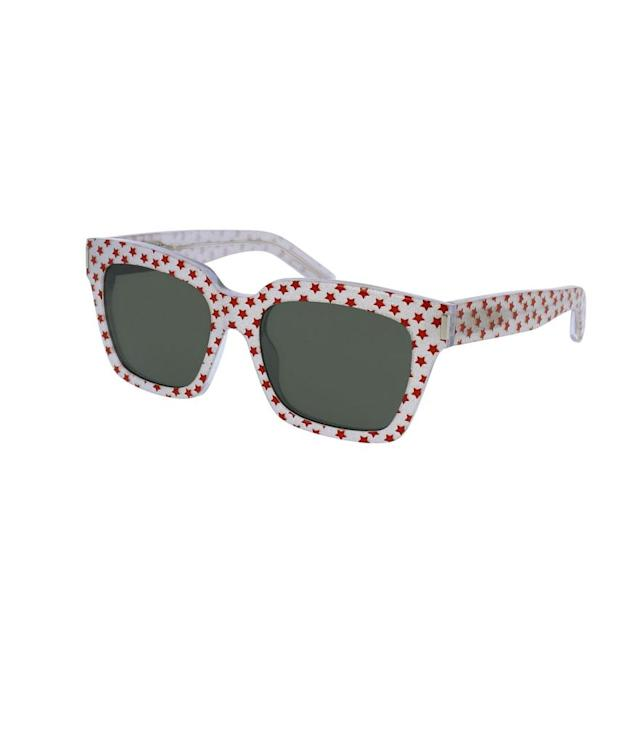 "<p>Sunglasses, $360, <a href=""http://www.ysl.com/us/shop-product/unisex/sunglasses-classic-classic-51-sunglasses-in-shiny-red-star-printed-acetate-with-grey-lenses_cod46511580jl.html#section=third_entry_gifts_for_her"" rel=""nofollow noopener"" target=""_blank"" data-ylk=""slk:ysl.com"" class=""link rapid-noclick-resp"">ysl.com</a> </p>"