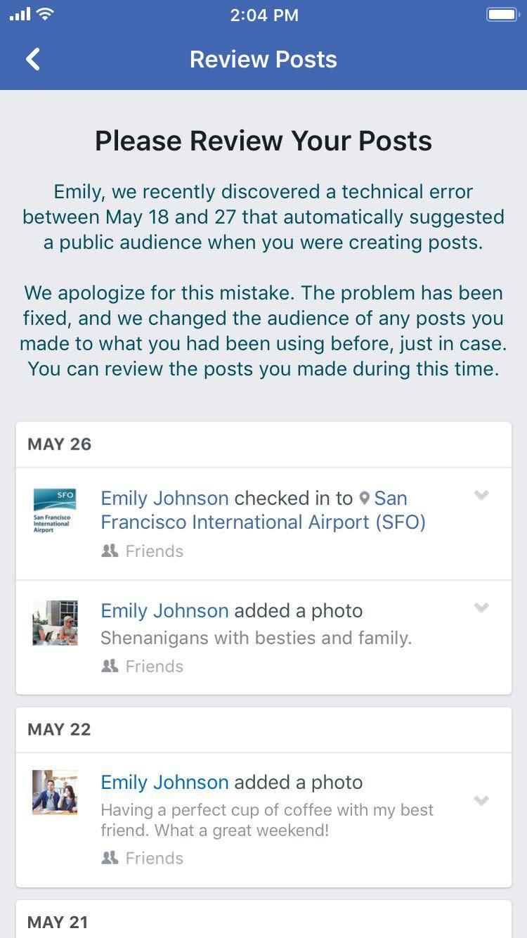 An example of the notification affected users would get from Facebook. (Photo: Facebook)