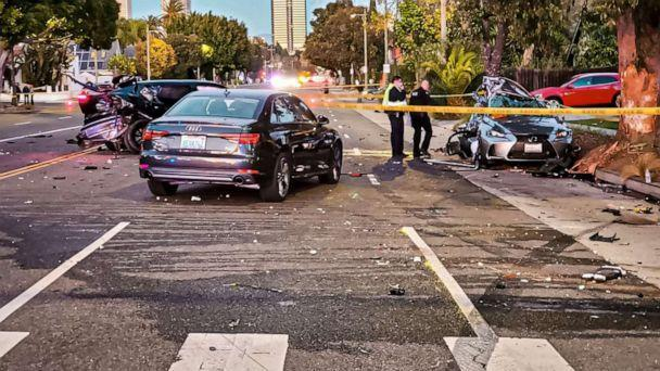 PHOTO: A photo released by the Los Angeles Police Department West Traffic Division shows the scene of a motor vehicle collision in which Monique Munoz was killed in West Los Angeles, Feb. 17, 2021 . (@LAPDWestTraffic/Twitter)
